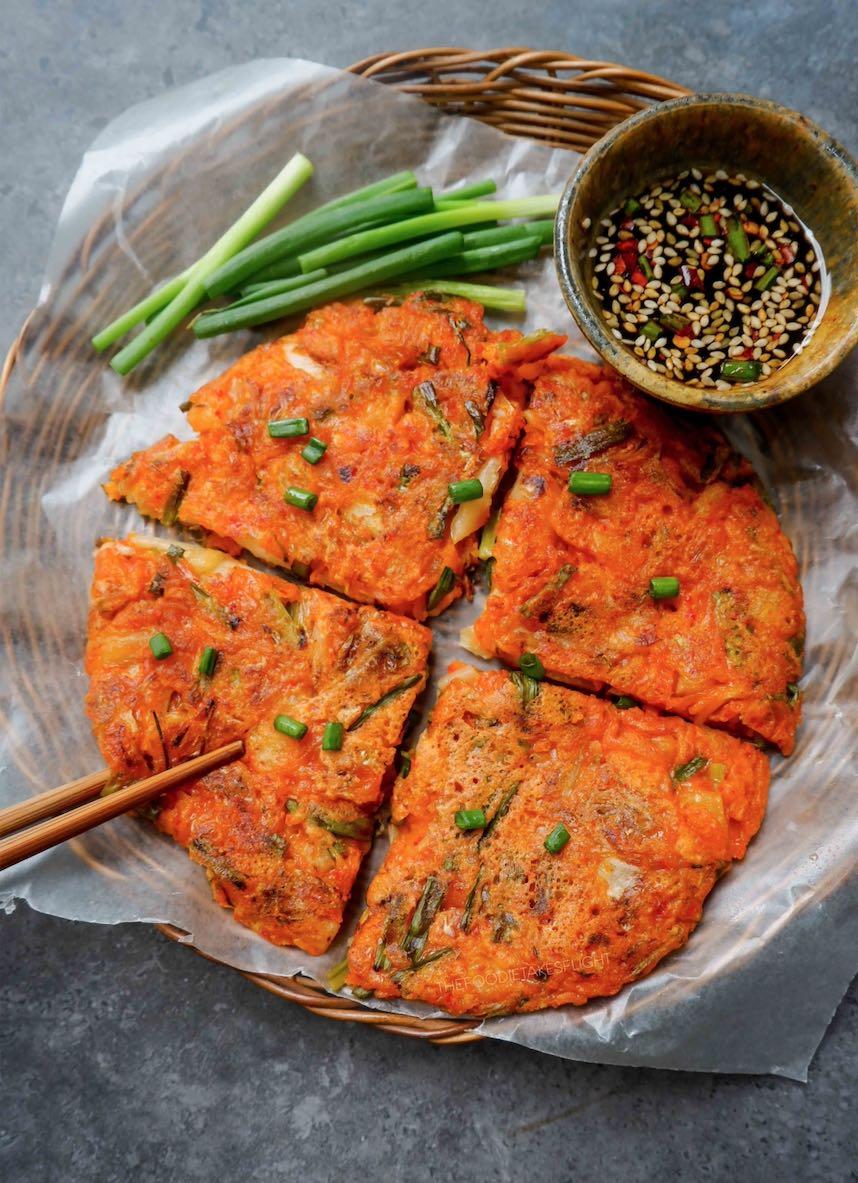 Korean Kimchi Pancakes (Kimchi-Jeon) - The Foodie Takes Flight